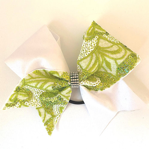 Personalised Green Sequin Lace Bow