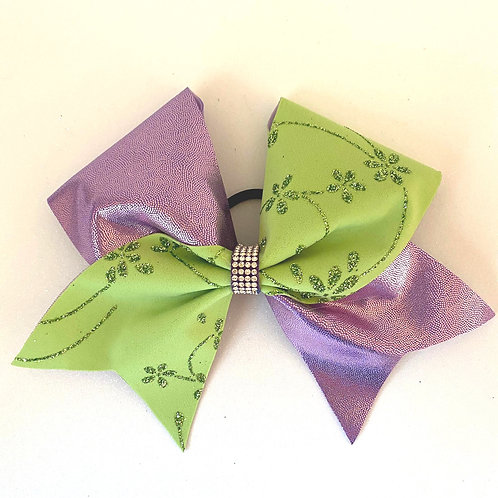Personalised Lilac and Green Flower Bow