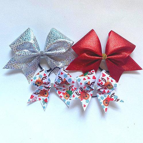Reindeer Cuties Pigtail Trio