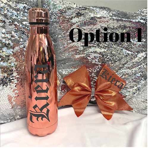 Copper Bottle and Bow Set