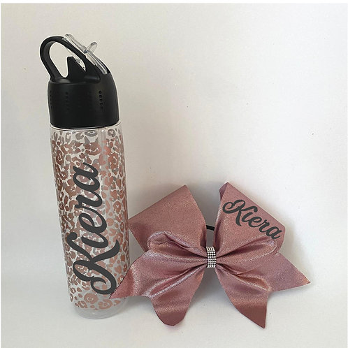 Rose Gold Leopard Bottle and Bow Set