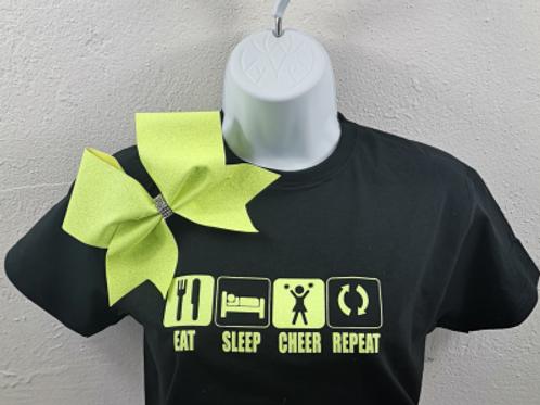 Eat Sleep Cheer Repeat T-Shirt and Bow Set