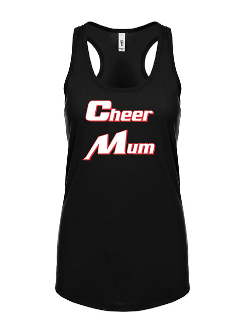 Cheer Mum Black Racer Back Vest