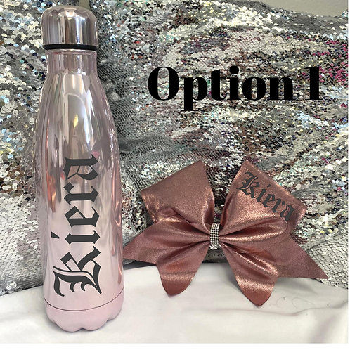 Pearl Pink Bottle and Bow Set