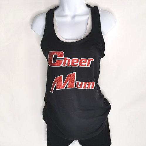 Cheer Mum Black Racer Back Vest