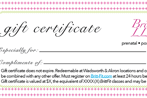 BrittFit Gift Certificate - increments of $15