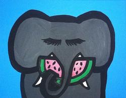 Elephant Eating Watermelon