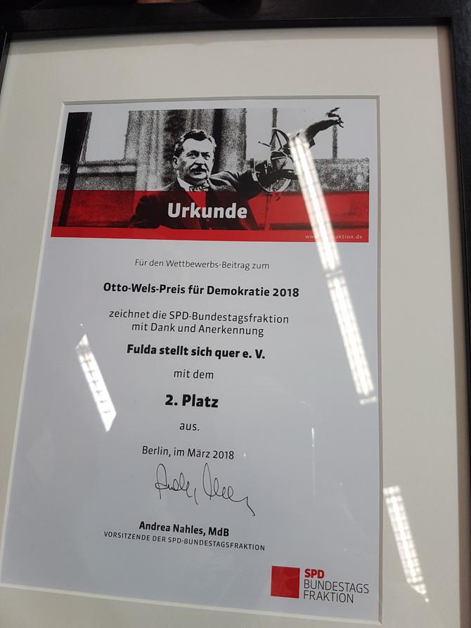 """""""Bündnis Fulda stellt sich quer"""" gewinnt Otto-Wels-Preis der SPD Bundestagsfraktion"""