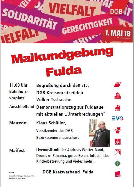 1. Mai 2018 Kundgebung des DGB Fulda