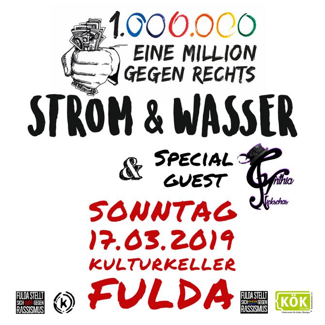 """Konzert """"Eine Millionen gegen Rechts"""" mit Strom & Wasser und Cynthia Nickschnas"""