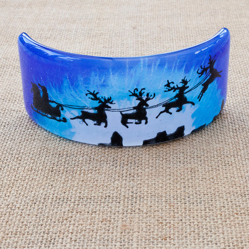 Santa and Reindeer Curved Picture