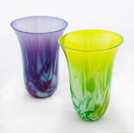 Purple and Green Drop Vases