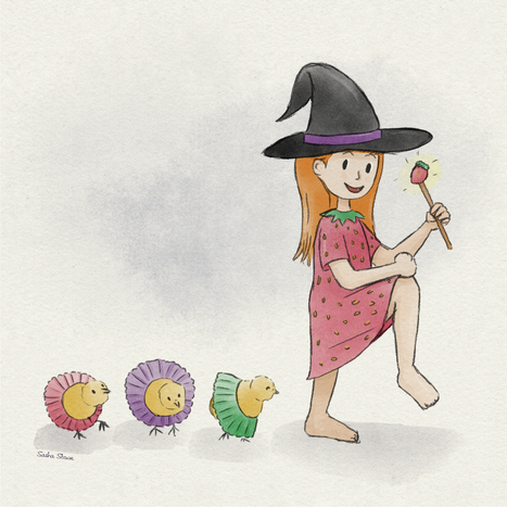 A_Strawberry_Witch_And_Her_Dancing_Chick