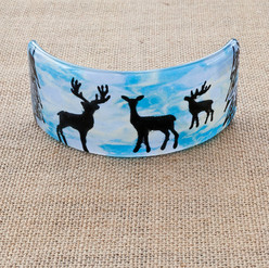 Winter Reindeers Curved Picture