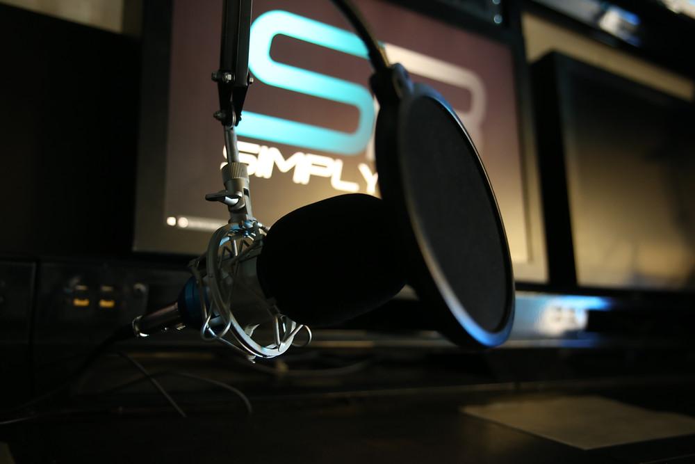 Broadcast station set up at a motorsport simulator venue