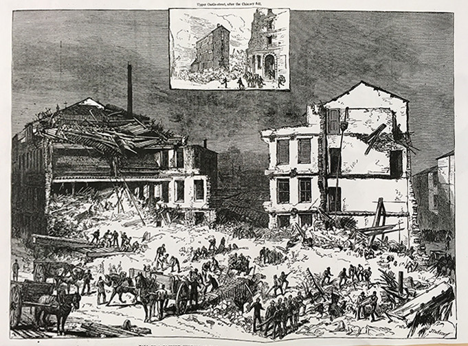 Newlands Mill collapse, eye witness illustration. Bradford Local Studies Library
