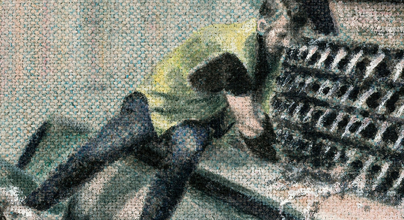 Alke Schmidt, The Devil, oil on wool/flax upholstery fabric (detail)