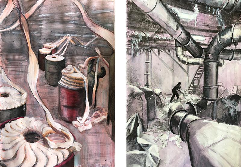 AlkeSchmidt_FactorySketches_Watercolour&Charcoal