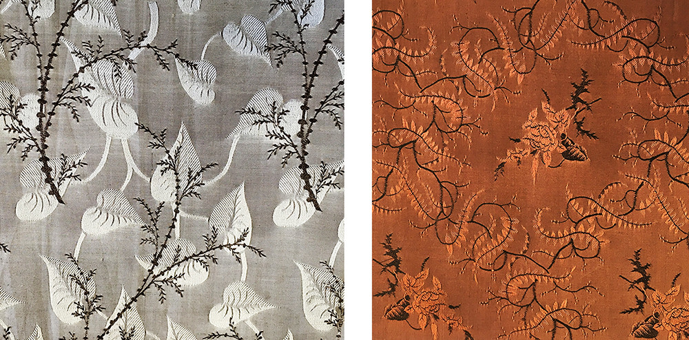 Two fabrics samples from Titus Salt's 1853 alpaca/silk sample book, Bradford Industrial Museum