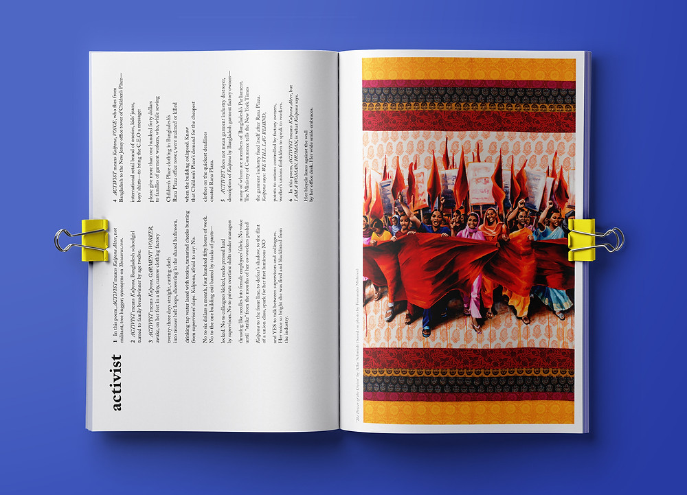 "Money Fashion Power zine with Alke Schmidt's ""Power of the Union"" pictured on right page"