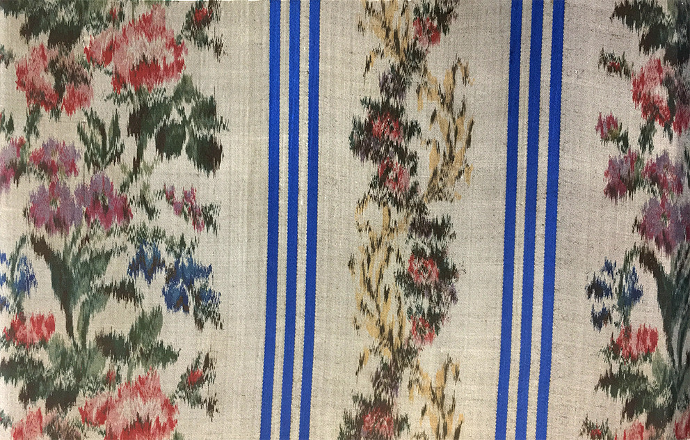 Multi-coloured pattern  from Titus Salt's 1853 alpaca/silk sample book, Bradford Industrial Museum