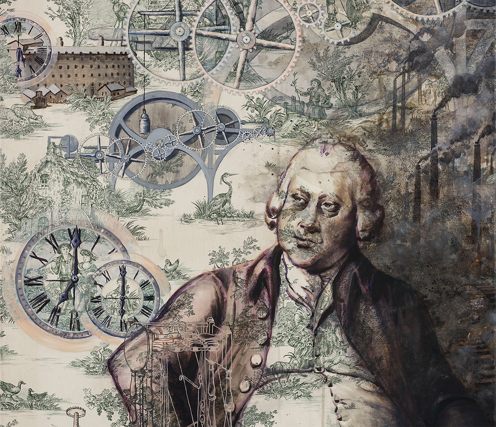 Alke Schmidt, A Man of Consequences; oil, mica and graphite powder on toile de jouy (detail)