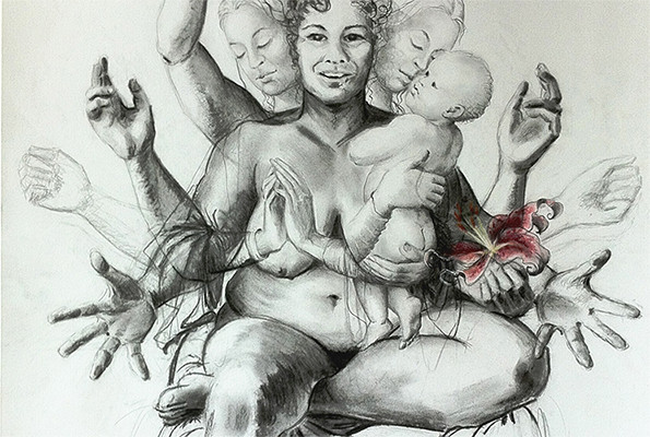 Alke Schmidt, Madonna For Our Times (detail). Graphite, charcoal & pencil on paper, 59 x 84 cm