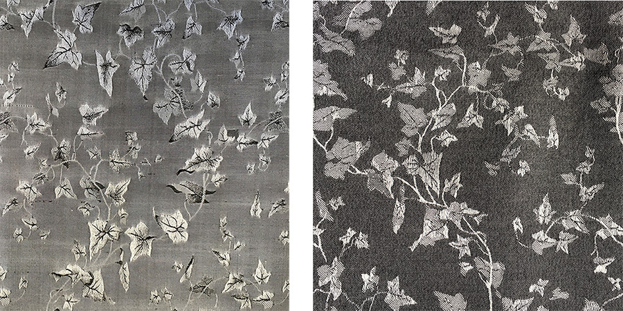 Silk/alpca fabric from the 1853 Salts sample book, Bradford Industrial Museum (right), and from the British Alpaca Fashion Company (right)