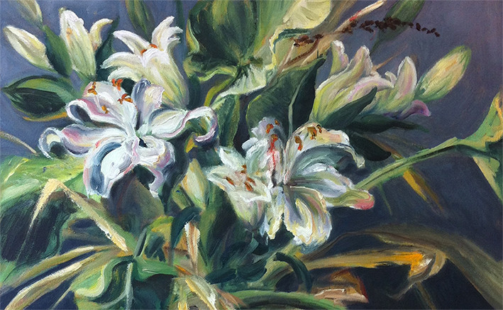 Alke Schmidt, Lilies and Philodendron, oil on board (detail)