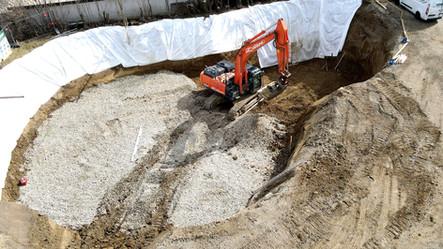 Baugrubenaushub für spätere Güllegrube