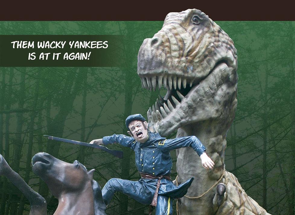 Dinosaur Kingdom T-rex holding an unfortunate Union soldier.