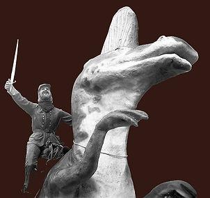 Civil War soldier riding a dinosaur at Dinosaur Kingdom II in Natual Bridge, VA