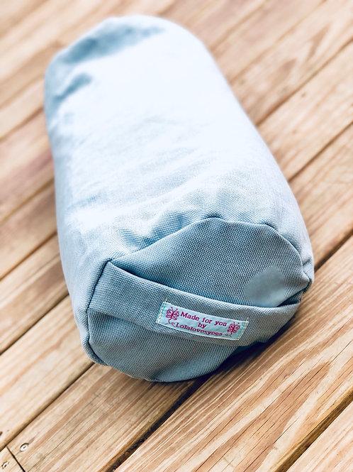 Pastel blue cotton bolster