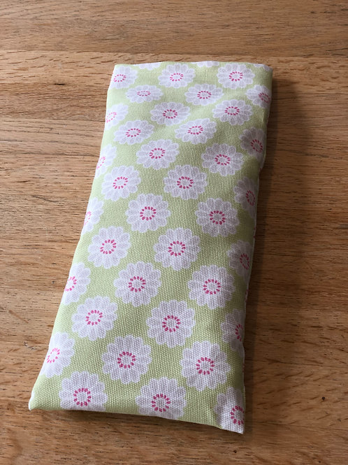 Eye Pad - Funky green and pink flowers wheat eye pads with added l