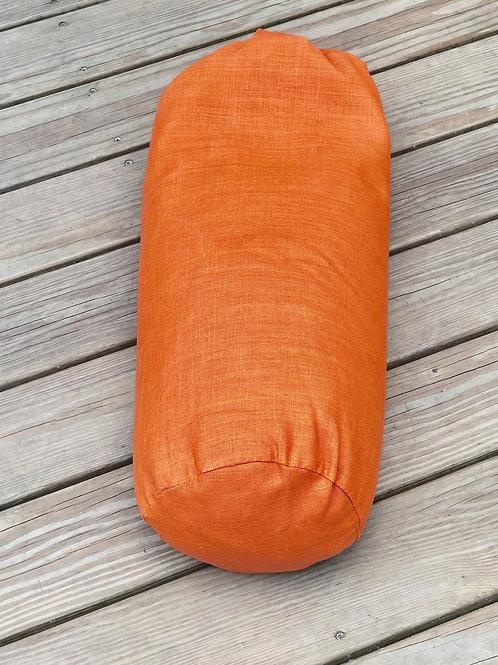 Orange linen bolster