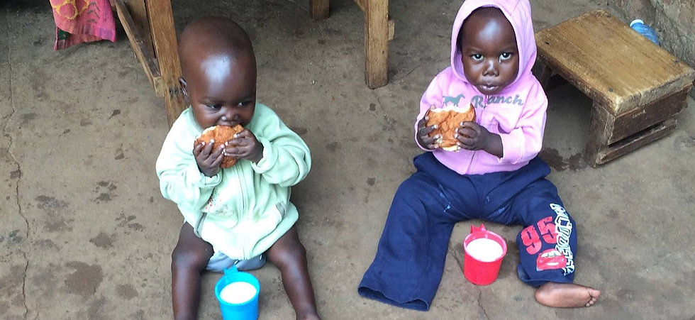 two children eating