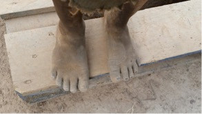 dirty feet on step