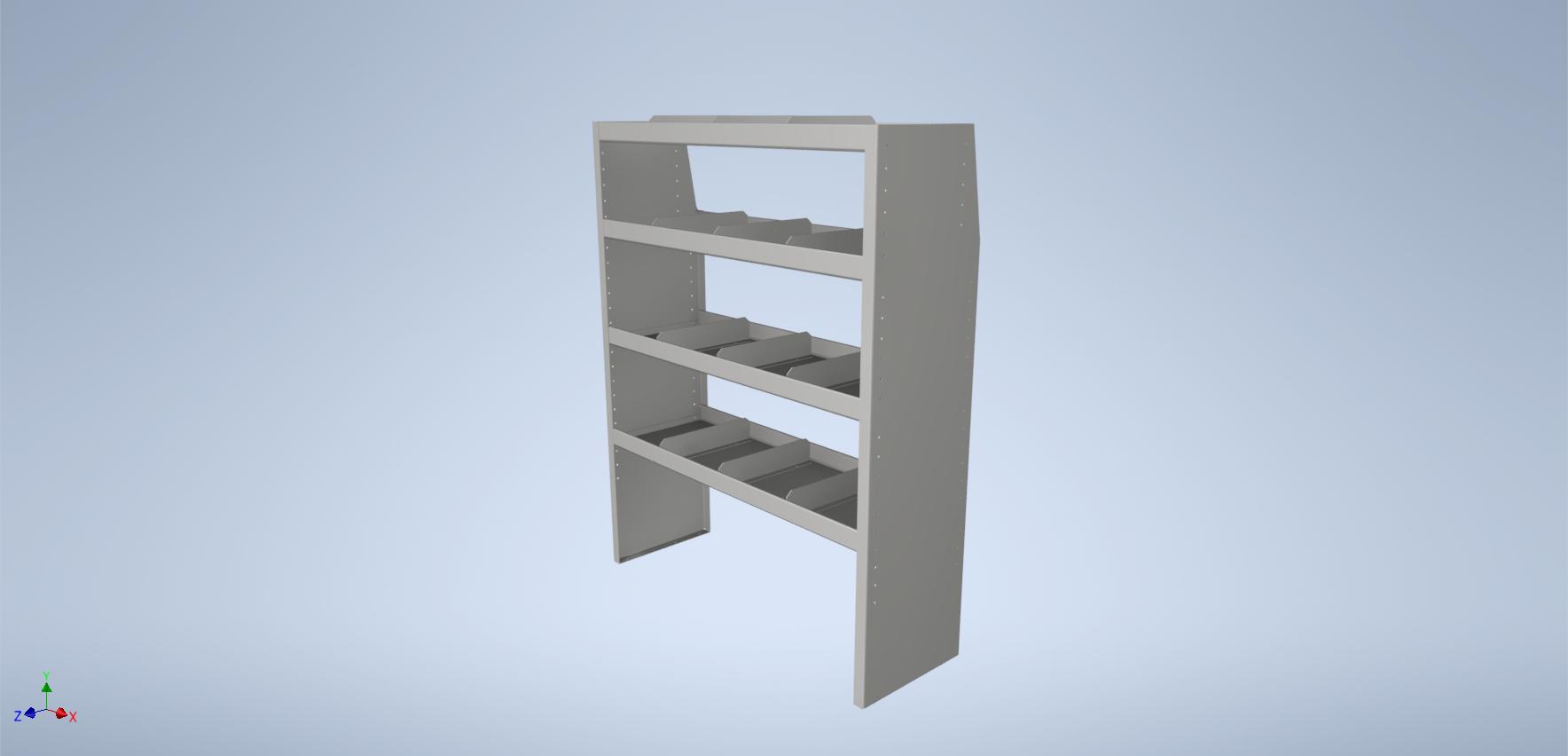 "48"" Long Aluminum Shelf Unit with Dividers"