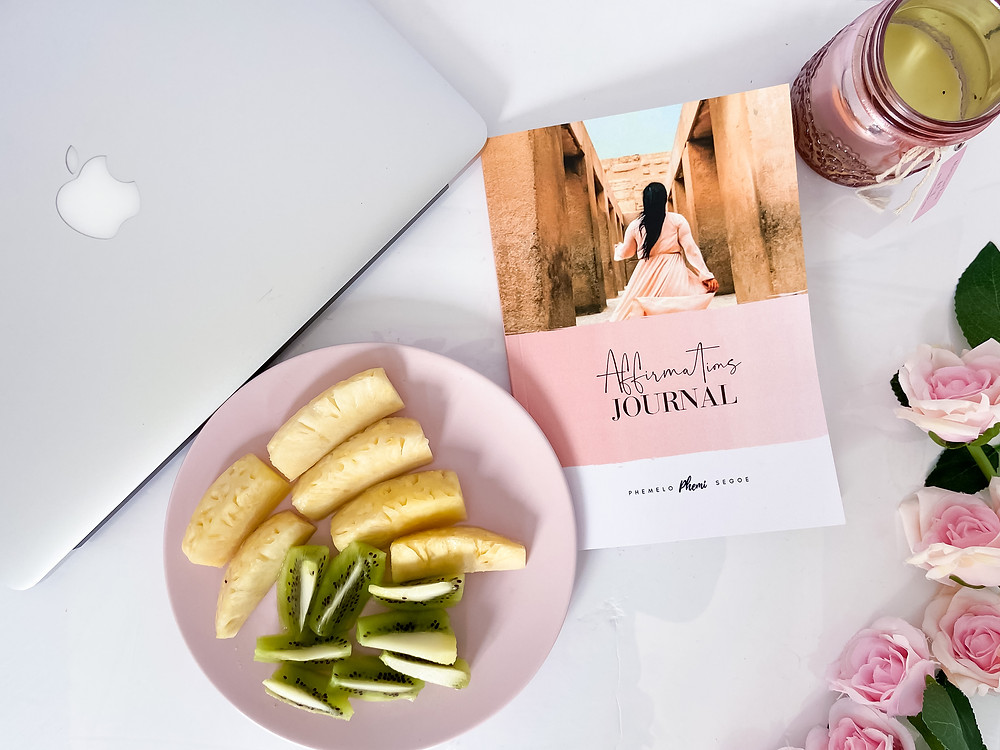 Snacking healthy, whilst going through Phemi Segoe's Affirmations Journal