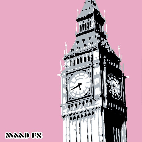 Pink - Big Ben London - hand made graffiti screen prints