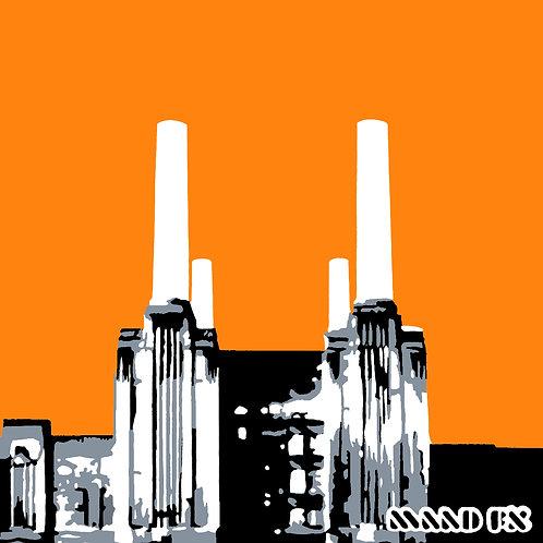 Orange - Battersea Power Station - handmade screen prints