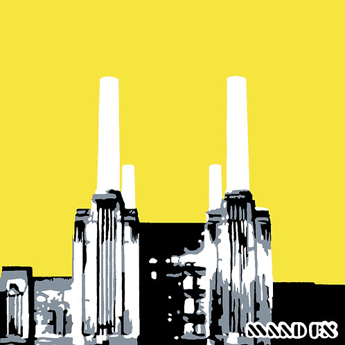 Yellow - Battersea Power Station - handmade screen prints