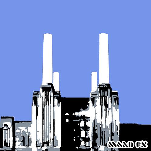 Blue - Battersea Power Station - handmade screen prints