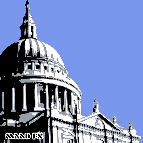 Blue - St Paul's London - handmade graffiti screen prints
