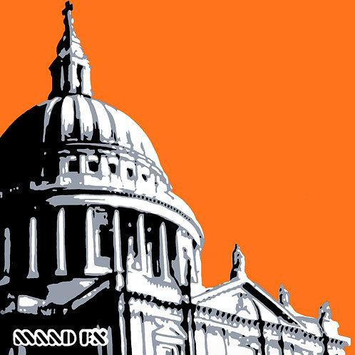 Orange - St Paul's London - handmade graffiti screen prints