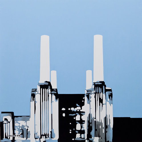 Battersea in winter haze - Original Painting