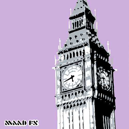 Lilac - Big Ben London - hand made graffiti screen prints