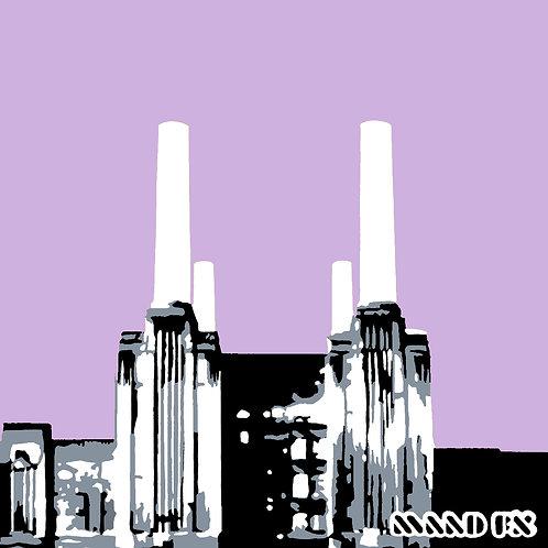 Lilac - Battersea Power Station - handmade screen prints