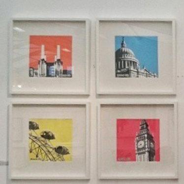 4 Prints (Framed black or white) - Handmade Screen Prints - 8 colours/4 designs