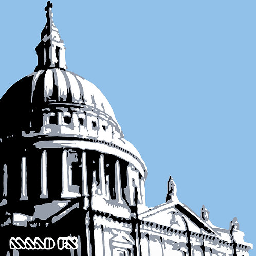 Pale Blue - St Paul's London - handmade graffiti screen prints